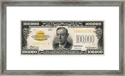 Framed Print featuring the digital art U.s. One Hundred Thousand Dollar Bill - 1934 $100000 Usd Treasury Note  by Serge Averbukh