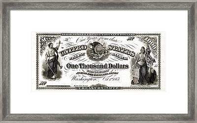Framed Print featuring the digital art U.s. One Thousand Dollar Bill - 1863 $1000 Usd Treasury Note by Serge Averbukh