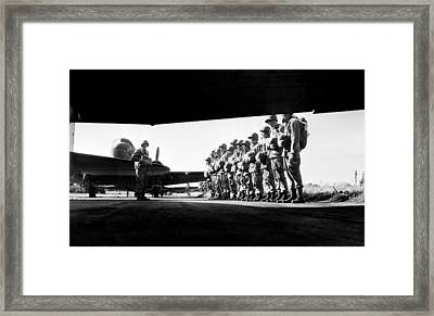 U.s. Paratroopers Lining Framed Print by Everett