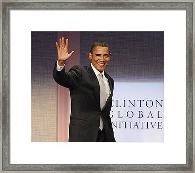 U.s. President Barack Obama At A Public Framed Print