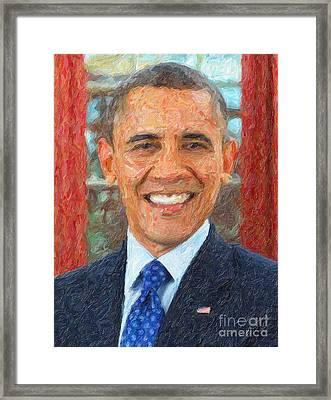 U.s. President Barack Obama Framed Print
