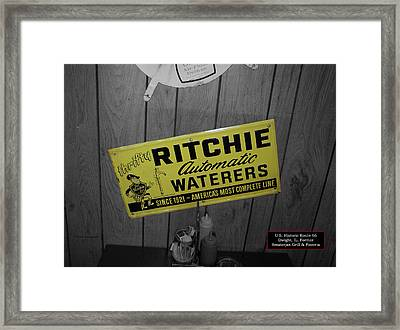 Us Route 66 Smaterjax Dwight Il Rare Waterers Signage Framed Print