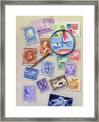 U.s. Stamp Collection Framed Print by Oz Freedgood
