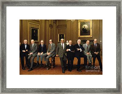 Us Supreme Court Justices Framed Print by Yoichi Okamoto