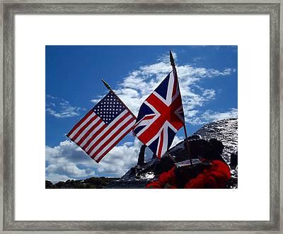 Usa And Uk Flags On A War Memorial - Torcross, Devon Framed Print
