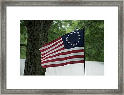 Usa Betsy Ross 13 Star Flag Framed Print by Thomas Woolworth