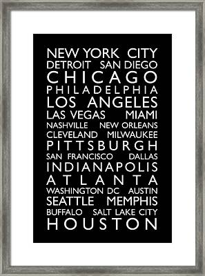 Usa Cities Bus Roll Framed Print
