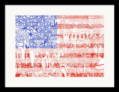 Drawing 4th Of July Framed Prints