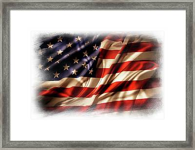 Usa Flag 7 Framed Print by Les Cunliffe