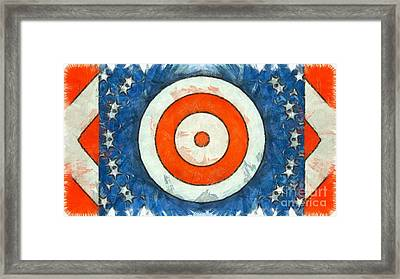 Framed Print featuring the digital art Usa Flag Abstract by Edward Fielding