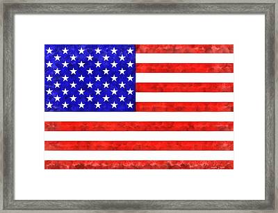 Usa Flag  - Acrylic Style -  - Da Framed Print by Leonardo Digenio