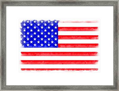Usa Flag  - Aquarell Style -  - Da Framed Print by Leonardo Digenio
