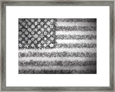 Usa Flag Floral 2 Framed Print