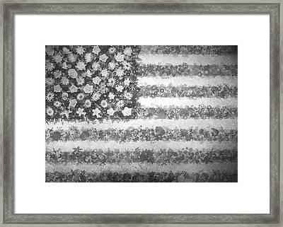 Usa Flag Floral 2 Framed Print by Bekim Art