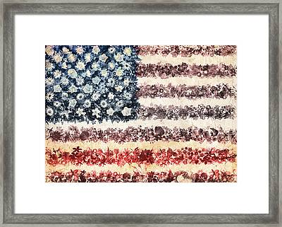 Usa Flag Floral 3 Framed Print by Bekim Art