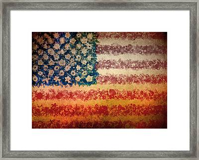 Usa Flag Floral 4 Framed Print by Bekim Art