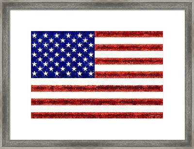 Usa Flag  - Free Style -  - Pa Framed Print by Leonardo Digenio
