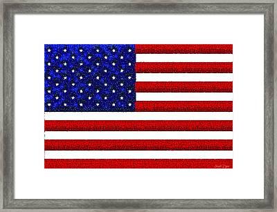 Usa Flag  - Gemstone Painting Style -  - Da Framed Print