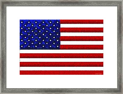 Usa Flag  - Gemstone Painting Style -  - Pa Framed Print