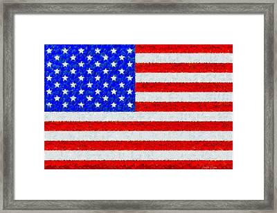Usa Flag  - Palette Knife Style -  - Da Framed Print