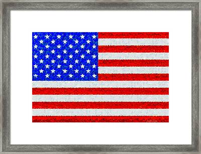 Usa Flag  - Palette Knife Style -  - Pa Framed Print by Leonardo Digenio
