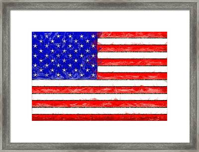 Usa Flag  - Pencil Style -  - Pa Framed Print by Leonardo Digenio