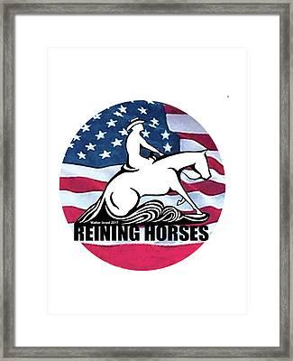 Usa Flag Reining Horses  Framed Print