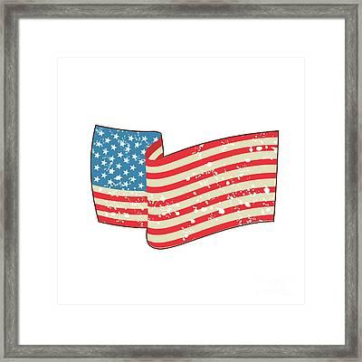 Usa Flag Stars And Stripes Grunge Wavy Retro Framed Print by Aloysius Patrimonio