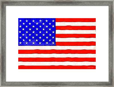 Usa Flag  - Van Gogh Style -  - Da Framed Print by Leonardo Digenio