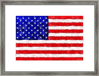 Usa Flag  - Wax Style -  - Pa Framed Print
