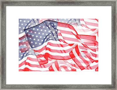 Usa Flags Framed Print by Les Cunliffe