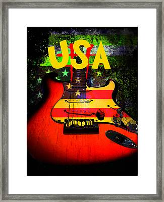 Framed Print featuring the digital art Usa Guitar Music by Guitar Wacky