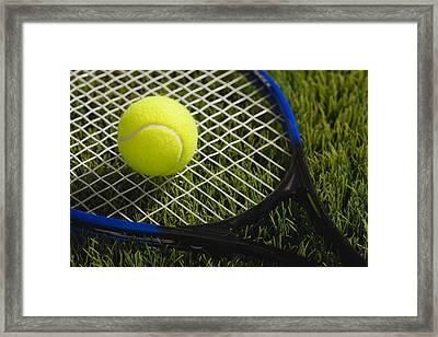 Usa, Illinois, Metamora, Tennis Racket And Ball On Grass Framed Print by Vstock LLC