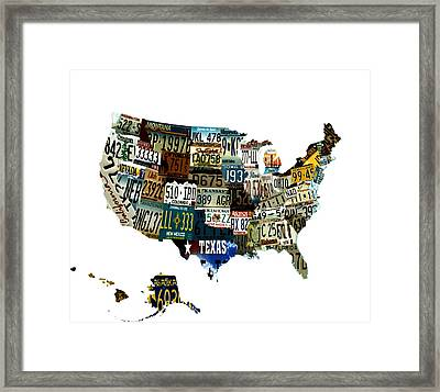Usa License Tag Map Framed Print
