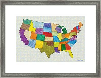 Usa Map - Da Framed Print