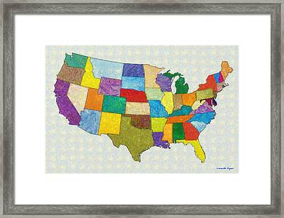 Usa Map - Pa Framed Print by Leonardo Digenio