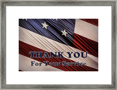 Framed Print featuring the photograph Usa Military Veterans Patriotic Flag Thank You by Shelley Neff