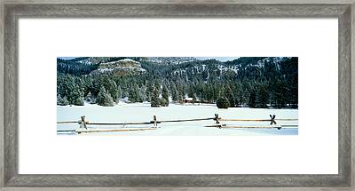 Usa, Montana, Fence, Cabin, Snow, Winter Framed Print by Panoramic Images