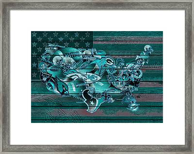 Usa Nfl Map Collage 3 Framed Print