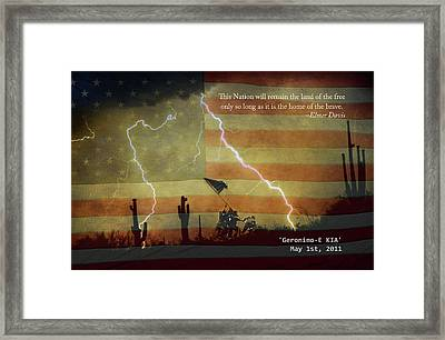 Usa Patriotic Operation Geronimo-e Kia Framed Print by James BO  Insogna