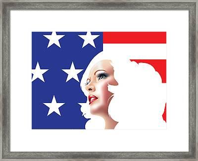 Usa Pin Up Girl Framed Print by Brian Gibbs