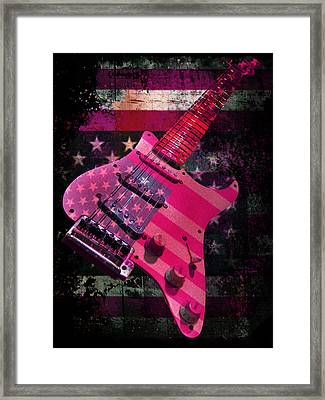 Framed Print featuring the digital art Usa Pink Strat Guitar Music by Guitar Wacky