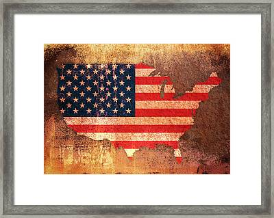 Usa Star And Stripes Map Framed Print
