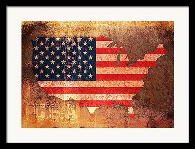 Us Flag Mixed Media Framed Prints