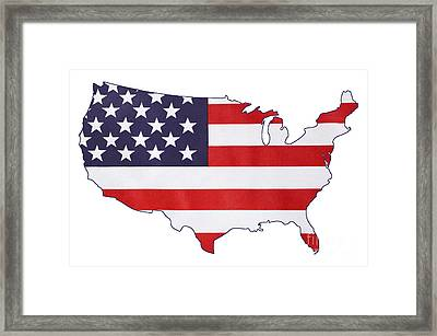 Usa Stars And Stripes Flag Within Outline Of Usa Map. Framed Print by Milleflore Images