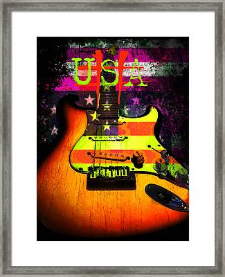 Framed Print featuring the digital art Usa Strat Guitar Music by Guitar Wacky