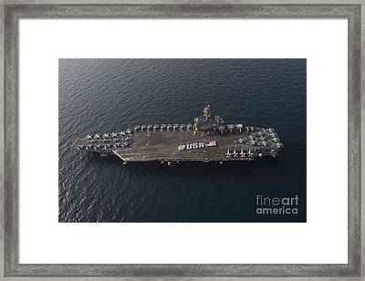 Usa With The American Flag On The Flight Deck Framed Print