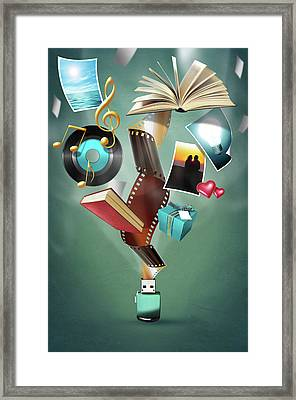 Usb Flash Drive 2.0 Framed Print by Carlos Caetano