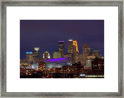 Usbank Stadium Dressed In Purple Framed Print
