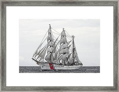 Uscg Barque Eagle Framed Print by Max Mudie